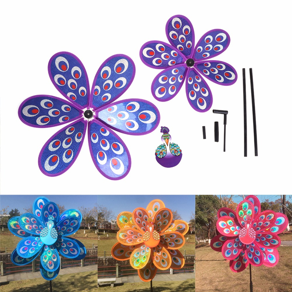 Kids Toy Double Layer Peacock Laser Sequins Windmill Colorful Wind Spinner