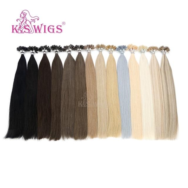 K.S peruk 16 0.8g/sn gerçek Remy tırnak U ucu saç uzatma ön gümrük Keratin kapsül çift çizilmiş düz füzyon saç