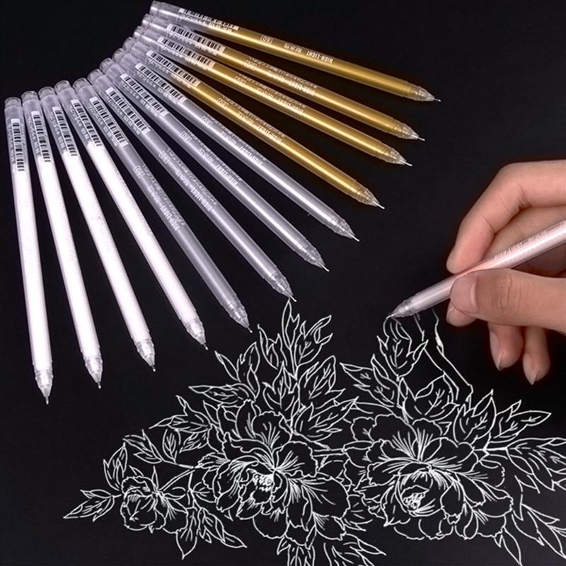 3pcs Large Capacity 0.6mm Waterproof White Gel Pen Highlighter Marker Pen Sketch Drawing Art Markers Comic Design Fine Liner Pen