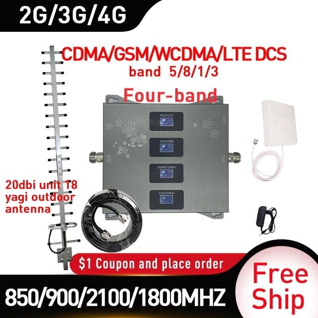 850/900/1800/2100 の信号ブースター gsm DCS WCDMA LTE 2 グラム 3 グラム 4 グラム 4 バンド携帯信号ブースター 2 3g セルラーリピータ 20dbi ゲイン
