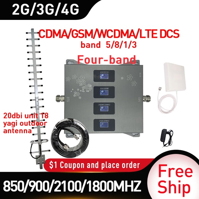 850/900/1800/2100MHZ אותות בוסטרים GSM DCS WCDMA LTE 2G 3G 4G ארבעה Band נייד אותות בוסטרים 2g מהדר סלולארי 20dbi רווח