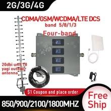AMPLIFICADOR DE señal móvil de cuatro bandas, repetidor celular 2G WCDMA LTE 2G 3G 4g, ganancia de 20dbi, 850/900/1800 MHZ