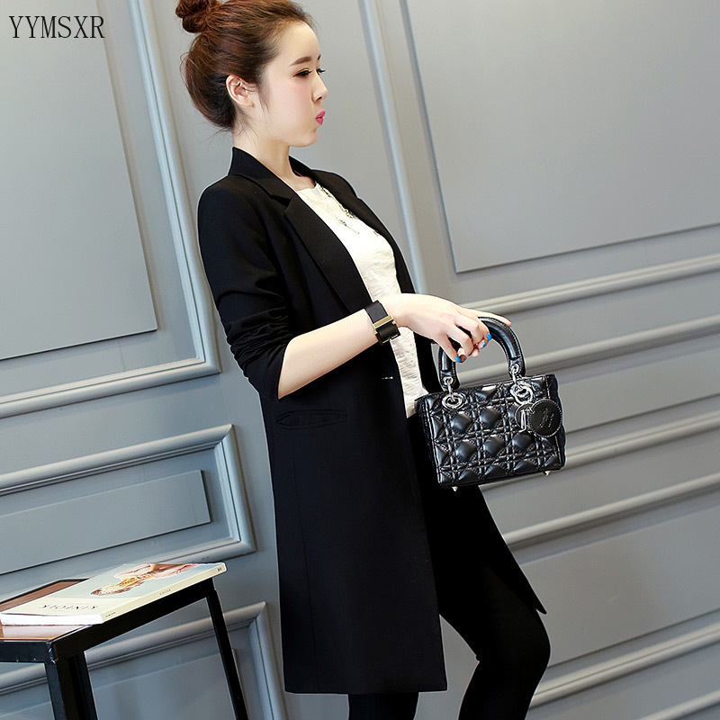 Women's blazer casual mid-length jacket feminine 2020 new Korean version of the spring and autumn ladies black suit Female Coat