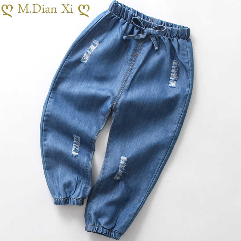 Spring and Summer 2020 Children's Jeans Boys'Summer Mosquito-proof Pants Girls' Cartoon Embroidered Thin Jeans 2-6Years
