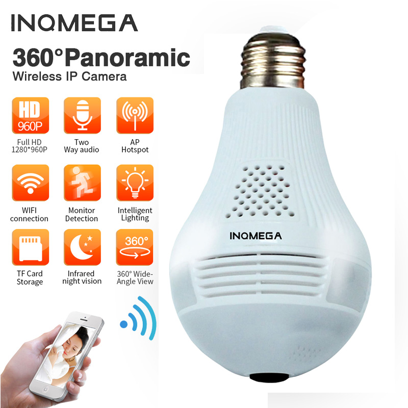 INQMEGA 960P 360 Security Wifi Camera Lamp Panoramic Camera Wifi IP Camera Fisheye Panoramic Surveillance Home Security IPCamera