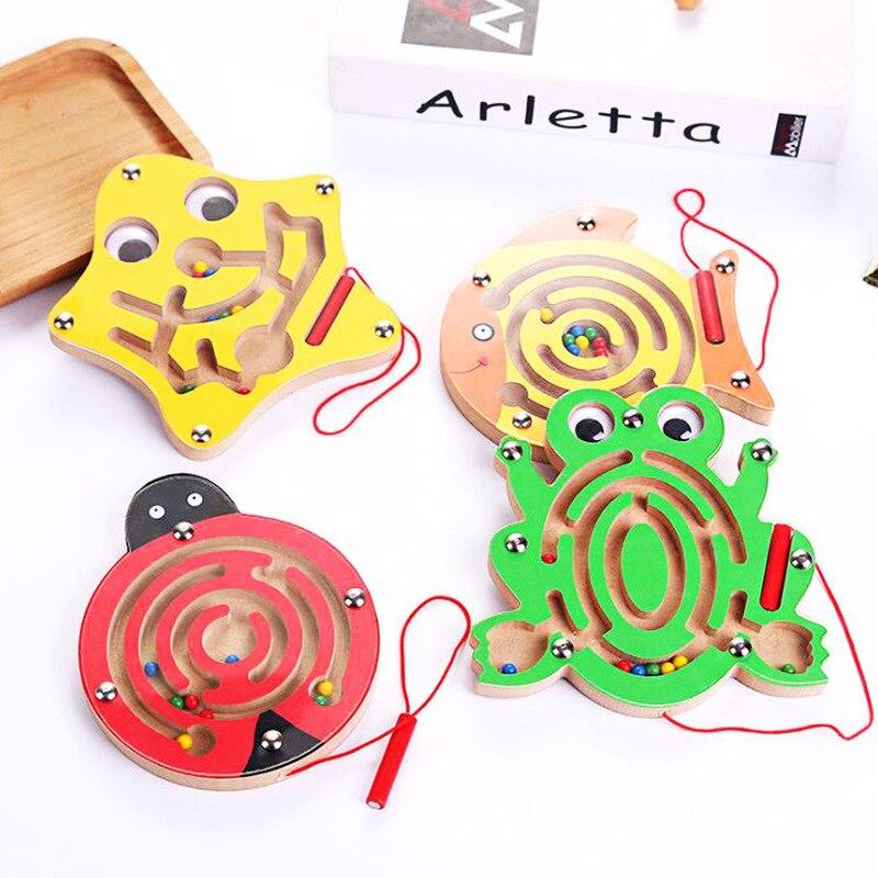 Montessori brinquedos educativos de madeira brinquedo para crianças aprendizagem precoce labirinto magnético puzzle labirinto cérebro teaser jogo educativo