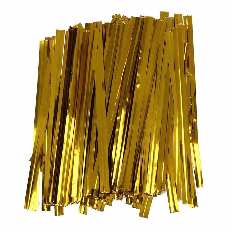 Pack 100 golden iron wire fastener twist tie bag candy cookie lollipops