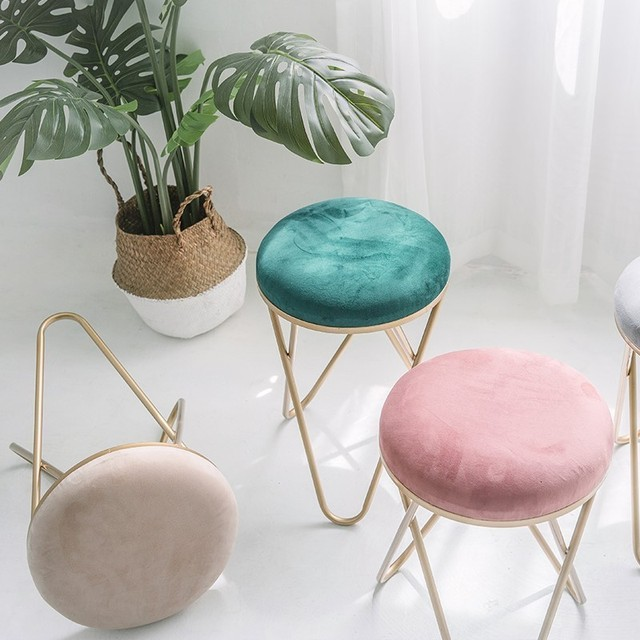 Iron Stool Dressing Chair Northern Europe Restaurant Stool Bedroom Modern Stool Ins Originality Small Round Stool Shoes Stool 3