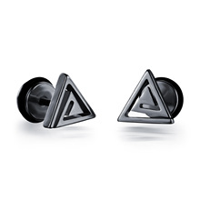 New Triangle Screw Stud Earring for Men Boy Gold Black Color Hip-Hop Punk Earrings Ear Fashion Male Jewelry Gifts fashion crystal round hoop earring hip hop punk stud earring for women gold color colorful jewelry gifts wholesale