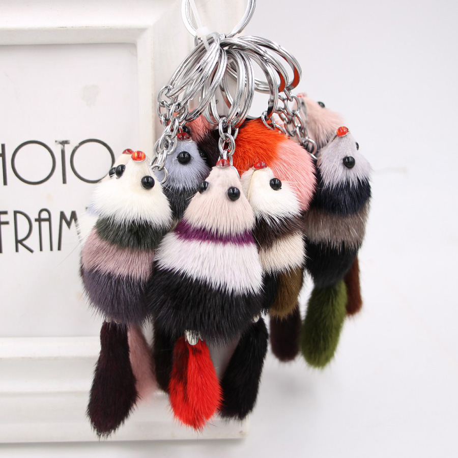 Mixed Color Mink Fur Fox Keychain Fully Tail Fox Key Chain Handmade Plush Keychain Bag Pendant Pompom Hairball Fox Metal Keyring