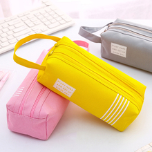 Double Zipper Large Pencil Case Kawaii School Pencilcase Clear Big Pen Box For Girls Stationery Supplies Pencil Box Bag Etui iridescence clear pencil case