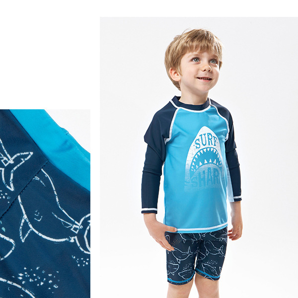 2018 KID'S Swimwear New Style Foreign Trade Export Two-piece Swimsuits Long Sleeve Sun-resistant Middle And Large BOY'S Boy Tour