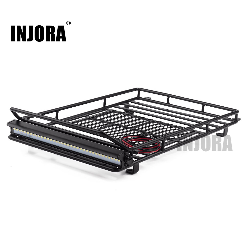 INJORA 245*150mm Luggage Carrier Roof Rack With LED Light Bar For 1/10 RC Crawler Car Axial SCX10 90046 Traxxas TRX4