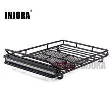 INJORA 245*150mm porte bagages barres de toit avec barre de lumière LED pour 1/10 RC chenille voiture axiale SCX10 90046 Traxxas TRX4