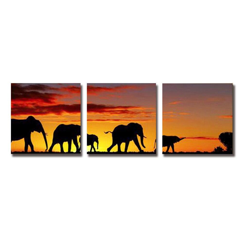 Fait à la main 3 pièces éléphant africain peintures et toile panneau Art groupe peinture ensemble entier décoration maison salon chambre