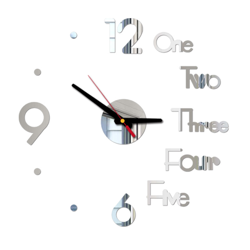 Letter Number Diy Digital Wall Clock 3d Mirror Surface Sticker Silent Clock Home Office Decor Wall Clock For Bedroom Office 6
