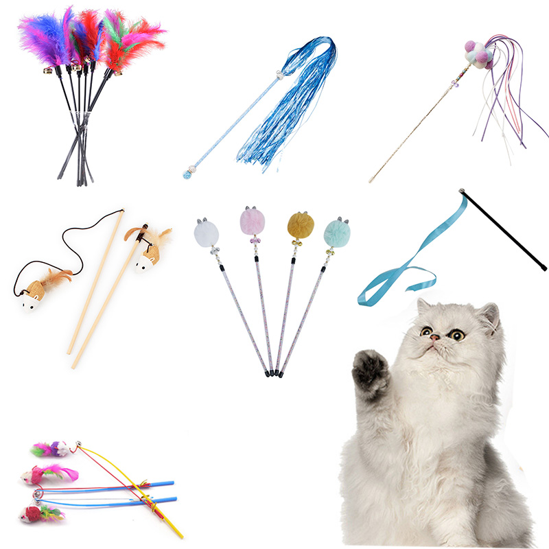 10 Style <font><b>Cat</b></font> <font><b>Toys</b></font> Plastic Kitten Interactive <font><b>Stick</b></font> Funny <font><b>Cat</b></font> Fishing Rod Game Wand <font><b>Feather</b></font> <font><b>Stick</b></font> <font><b>Toy</b></font> Pet Supplies <font><b>Cat</b></font> Accessory image