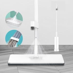 Image 1 - Bezprzewodowy Mop z natryskiem z mikrofibry do czyszczenia podłóg z wymiennymi zmywalnymi podkładkami płaski Mop do kuchni domowej zestaw do laminowania z twardego drewna