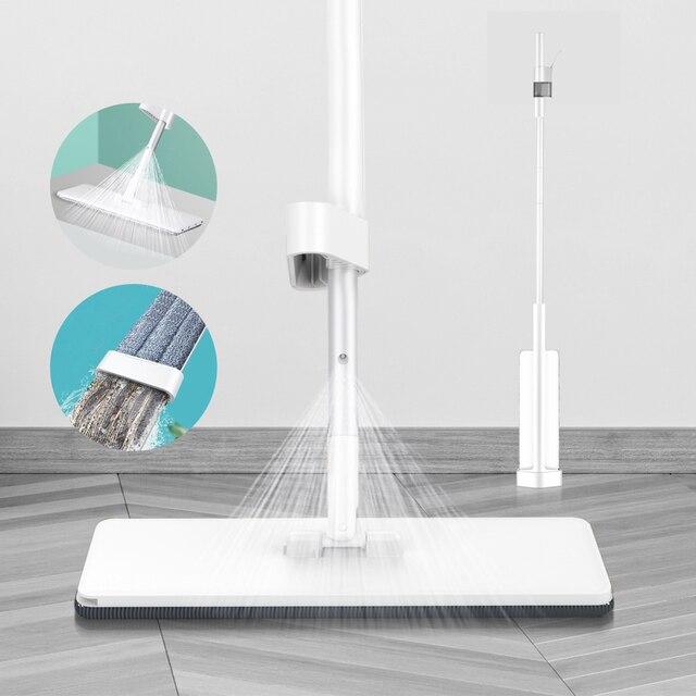 Bezprzewodowy Mop z natryskiem z mikrofibry do czyszczenia podłóg z wymiennymi zmywalnymi podkładkami płaski Mop do kuchni domowej zestaw do laminowania z twardego drewna