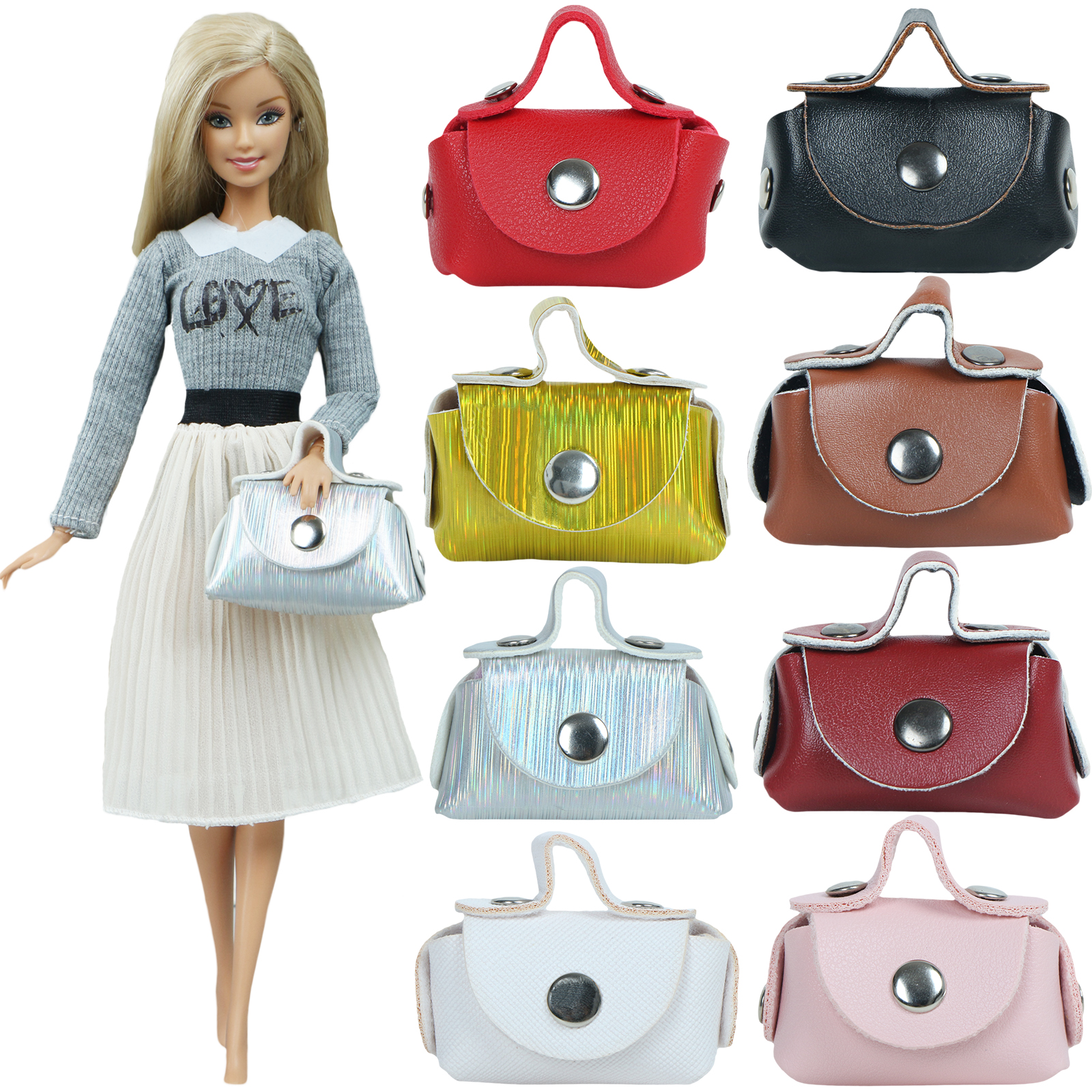 Handmade Doll Bag Mixed Color Red Sliver 1:6 Miniature Shoulder Shopping Handbag For Barbie Doll Clothes Accessories Kids Toy