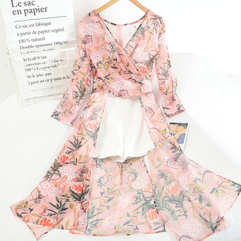 FTLZZ New Summer Women Elegant Floral Print Shorts Two Piece Set Casual Long Sleeve Asymmetrical Chiffon Shirt and White Shorts 1
