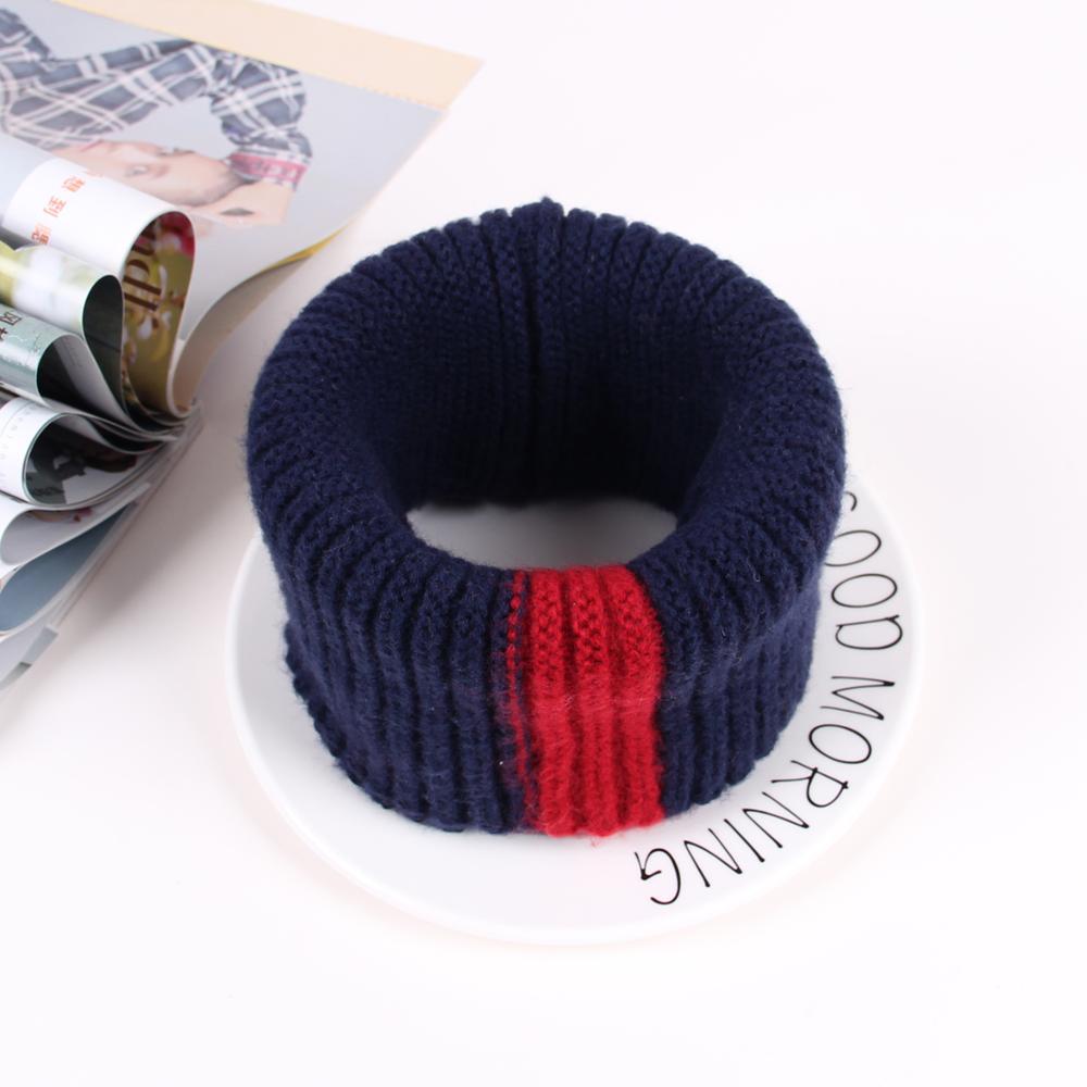 VISROVER/вязаный шарф для девочек и мальчиков, детское кольцо с полосками, безграничный снуд, Детские кашемировые шарфы, Круглый теплый шарф на шею - Цвет: 7