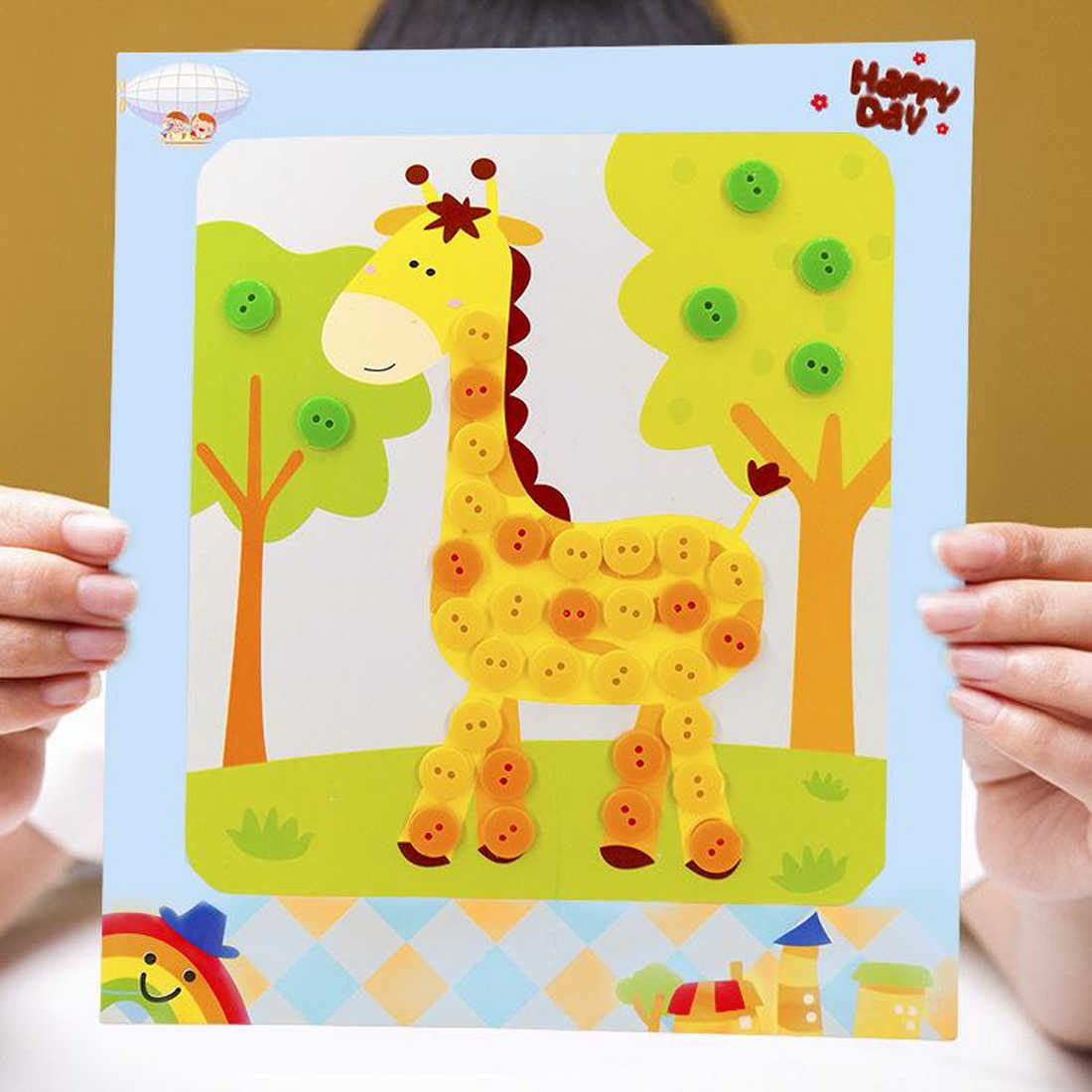 Fatti a Mano di Scuola Classe di Arte Della Pittura di Disegno Disegno Del Mestiere Kit per Bambini Precoce Educativo per Bambini Fai da Te Adesivi Pulsante Giochi di Disegno Divertente Gioco