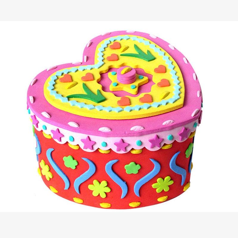 4 Color Cute Cartoon DIY Handmade Storage Box 3D EVA Puzzle Kids Handcraft Box Creativity Toys For Children Educational Toy
