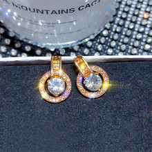 DREJEW Small Gold Silver Circe Rhinestone Drop Earrings Round Alloy Statement 925 Needle Dangle for Women Wedding HE658