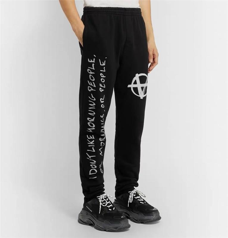 19FW VETEMENTS Pants Men Women Oversize Sweatshirt Embroidery VETEMENTS Pants Mens Joggers Sweat Track Pants VETEMENTS Pants