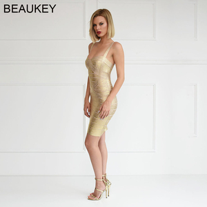 Image 2 - Beaukey ouro metálico prata bandagem vestido elástico bainha espaguete cinta folha feminina festa mini curto sexy vestido bandagem prata