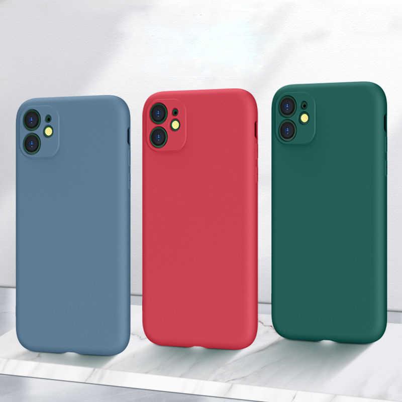 Silikon Asli untuk iPhone 11 X XR X 8 7 6 SE 2020 Penutup Penuh Perlindungan Lensa Kamera case dengan Memiliki Logo