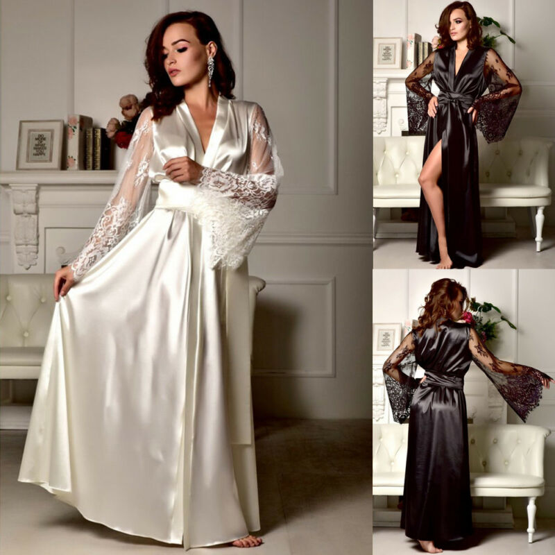 Women Lace Sleepwear Nightgown Satin Silk Lace Robes Long Sleeve V-neck Bandage Female Sleep Long Dress