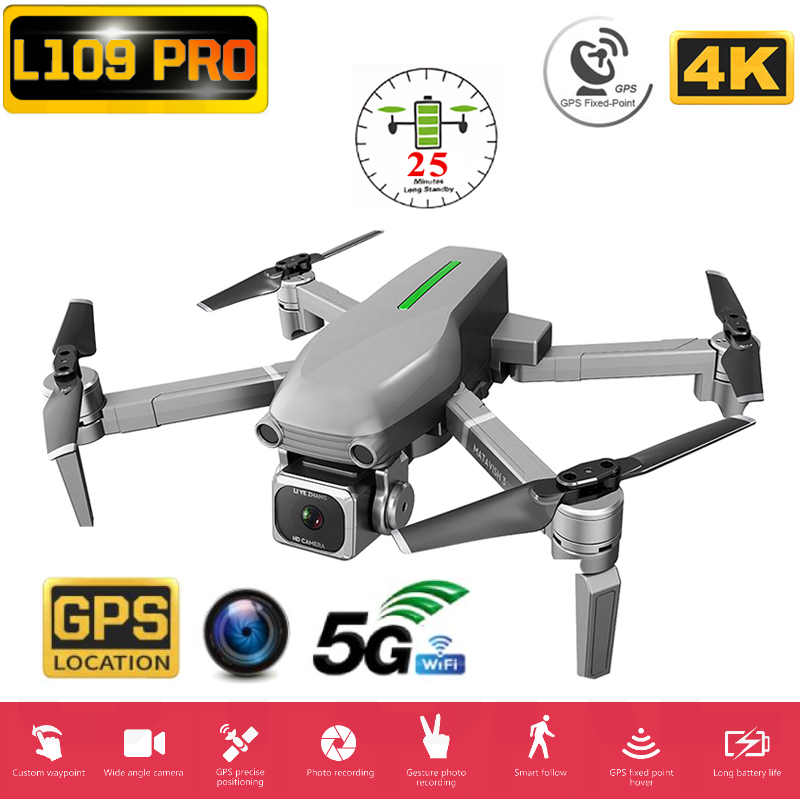 L109 Pro RC Quadcopter Professional Drone 4K GPS HD Camera 5G WIFI FPV Brushless Motor 50X Zoom Electronic Stabilization Lens