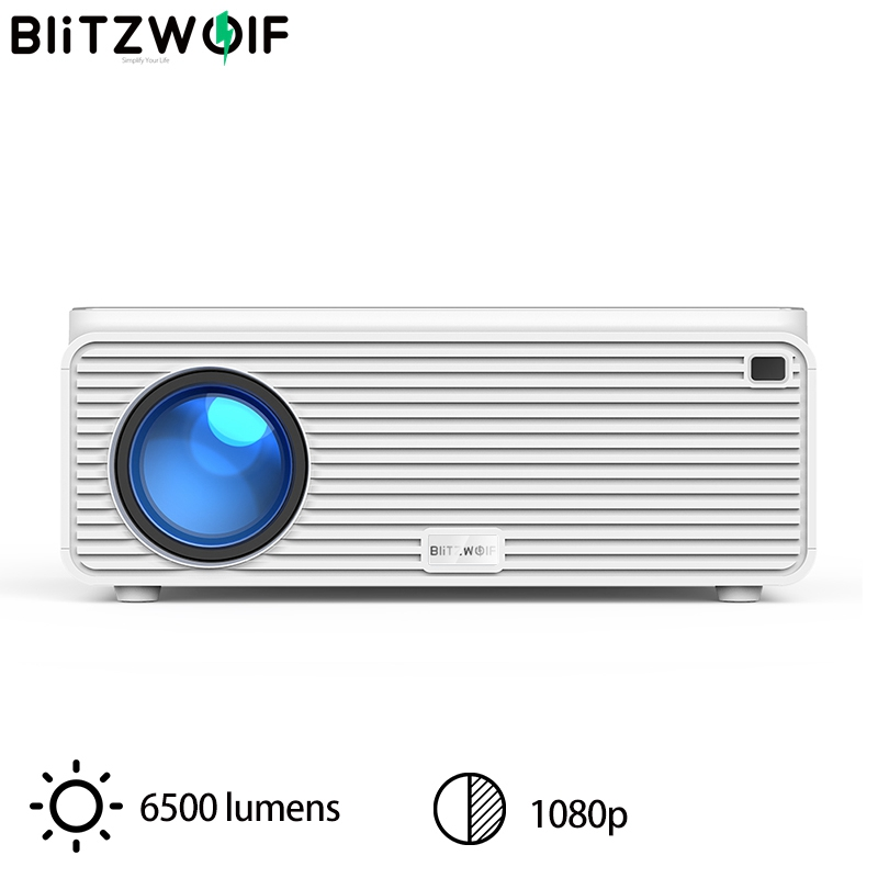 Blitzwolf BW-VP2 LCD Projector 380 ANSI 6500 Lumens Support 4K Image Adjustment HDMI VGA AV Multiple Ports Home Theatre System