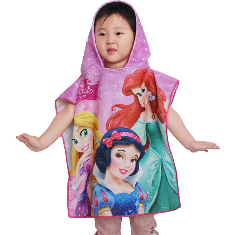Cartoon Superfine Fibre Printed Hooded Bath Towel For Children Cloak Infant Wearable Bath Towel Bathrobe