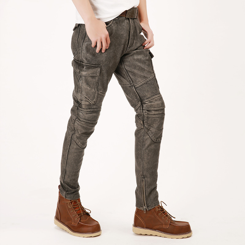 HARLEY-DAMSON Uomo Nero Lungo Moto Pantaloni di Cuoio Più Il Formato XXXXL Genuino Della Pelle Bovina Primavera Naturale Biker pantaloni di Pelle