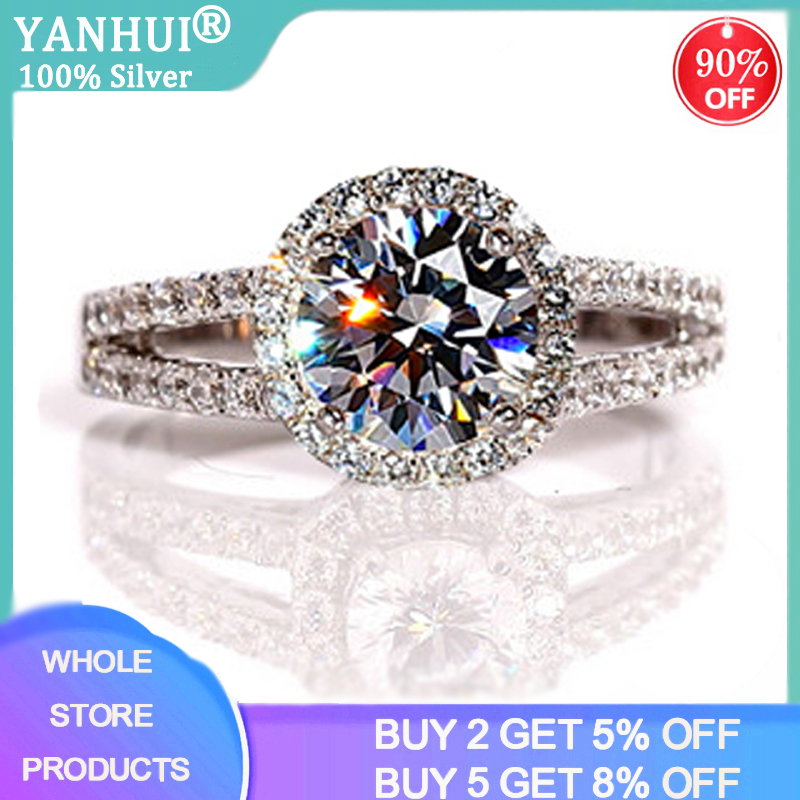 95% OFF! Luxury Female 2ct Zirconia Diamond Solitaire Ring With S925 Logo Original Silver Wedding Ring Promise Engagement Rings(China)