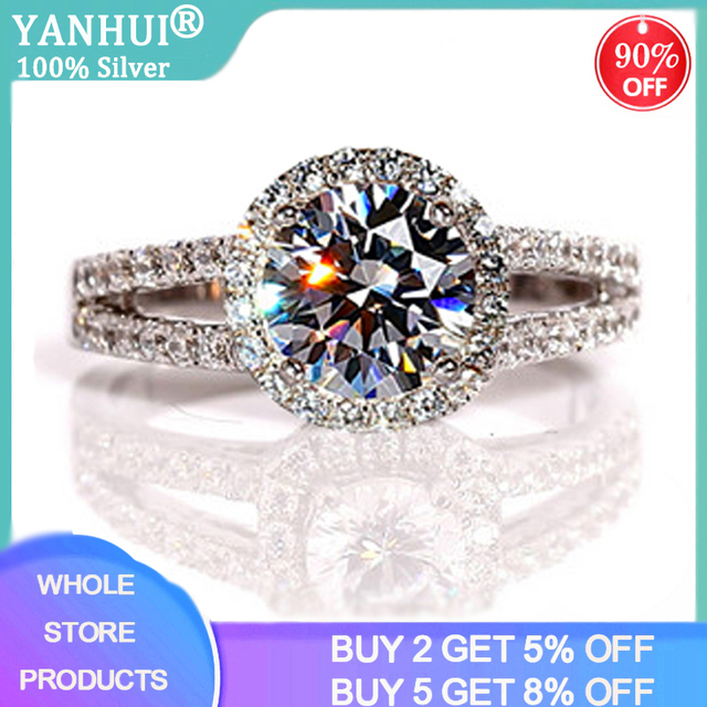 95% OFF! Luxury Female 2ct Zirconia Diamond Solitaire Ring With S925 Logo Original Silver Wedding Ring Promise Engagement Rings