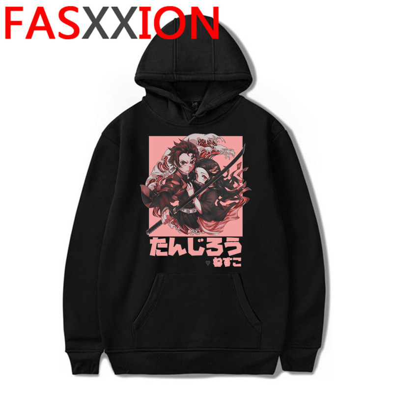 Hot Anime Demon Slayer Hoodies Men Kawaii Cartoon Kimetsu No Yaiba Hoody Cute Demon Blade Harajuku Top Black Sweatshirts Male