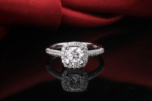 Starszuan 18k Pretty Cushion Cut  DEF 1.1ct Moissanite Wedding Ring 6*6mm Test Possitive Moissante Ring Anniversary Gift