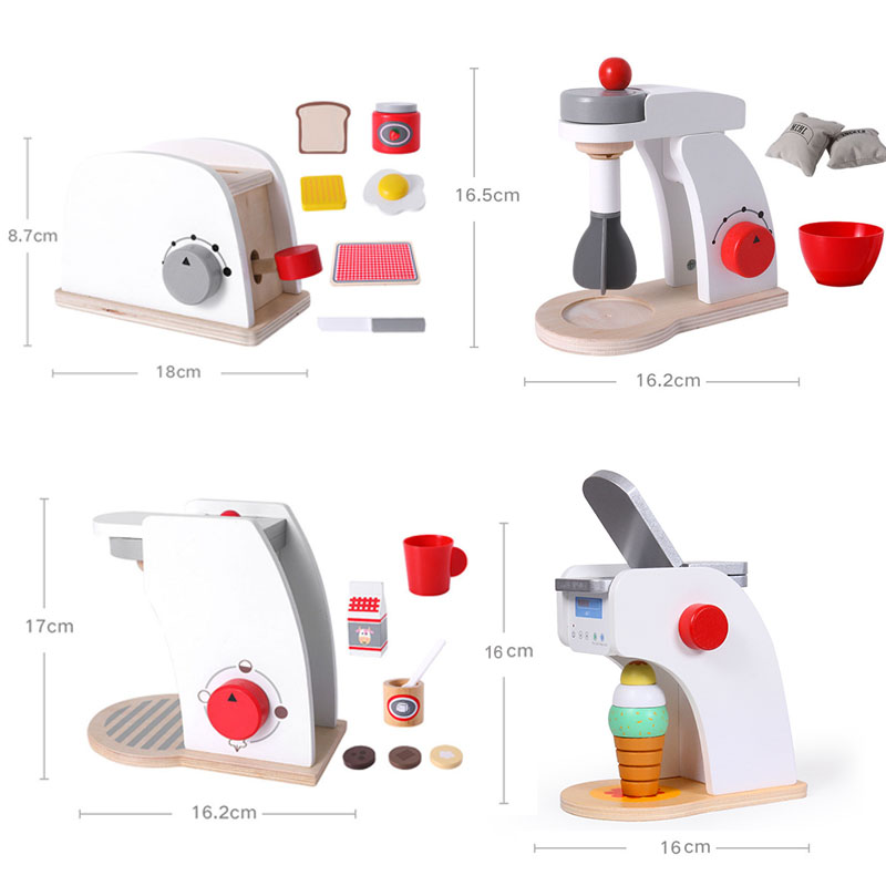 Kitchen Wooden Pretend Play Sets  Pretend Toasters Bread Maker Coffee Machine Game  Birthday Gifts Mixer Ice Kid Educational Toy