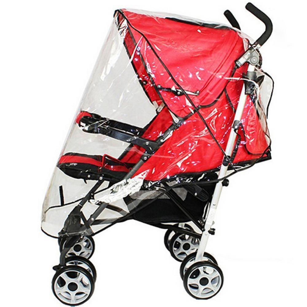 Stroller Rain Cover Universal Waterproof Wind Dust Shield Baby Stroller Pushchair Pram Rain Cover Transparent with Black Edge