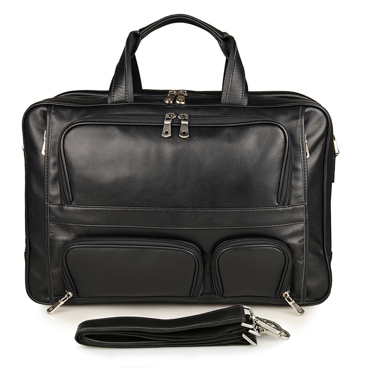 Large Briefcase Super Large Capacity with removable Strap 2 Usages fit 17''PC Business Trip Travel Genuine Leather Black Casual