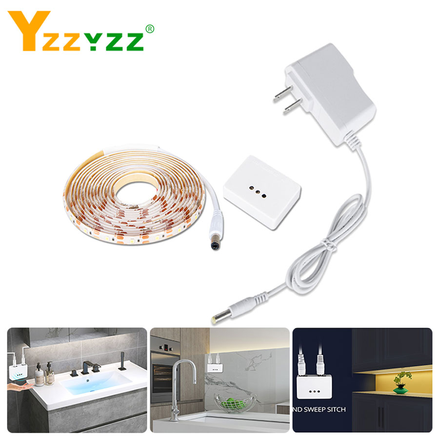 DC12V 2835SMD IR Hand Motion Sensor LED Cabinet Light Dimmable Hand Sweep Sensor LED Strip DIY Kitchen Closet Wardrobe Lamp Deco