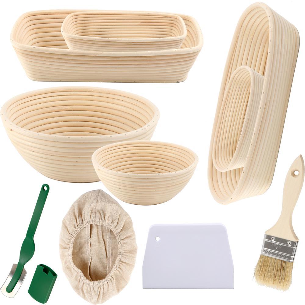 Sourdough Bread Banneton Basket Set Bread Mold Rattan Bread Proofing Basket Baking Mold Bakeware Dough Scraper Baking Tools