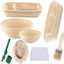 Pão sourdough banneton cesta conjunto pão molde rattan pão cesta de prova cozimento molde bakeware raspador de massa ferramentas de cozimento