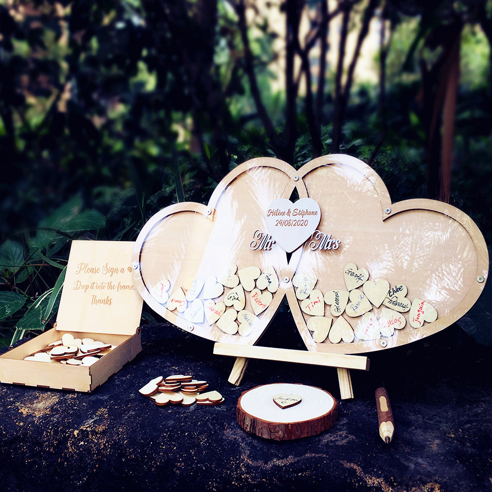 Guestbook Wedding Personalized Wedding Deco Custom Wood Guestbook Sign With Pen Set