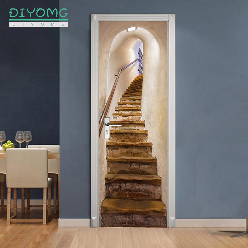 77x200cm 3D stairs pattern Door Sticker For LivingRoom Bedroom DIY PVC self-Adhesive Wallpaper Home Decor Waterproof Mural Decal