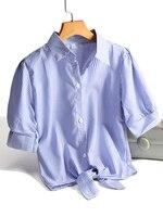Zjaiss шикарный стиль Женские полосатые рубашки модные короткие топы белая блузка универсальная Синяя Женская рубашка 2020 Лето размера плюс